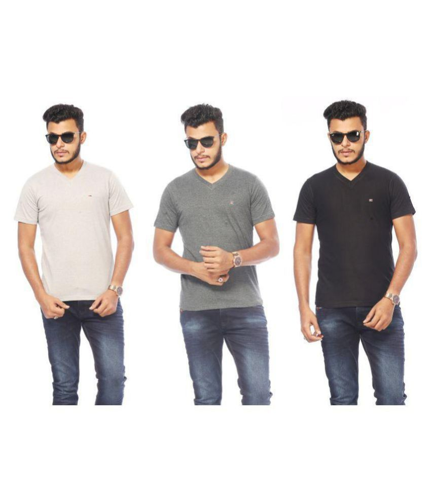 ACTIVE BASIC Multi Half Sleeve T-Shirt Pack of 3