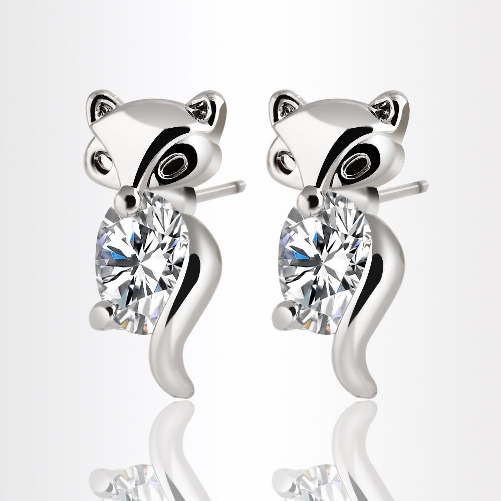 Kamalife Silver Color 1 Pair Iced Out Bling CZ Sweet Cute Little Fox Earring Jewelry