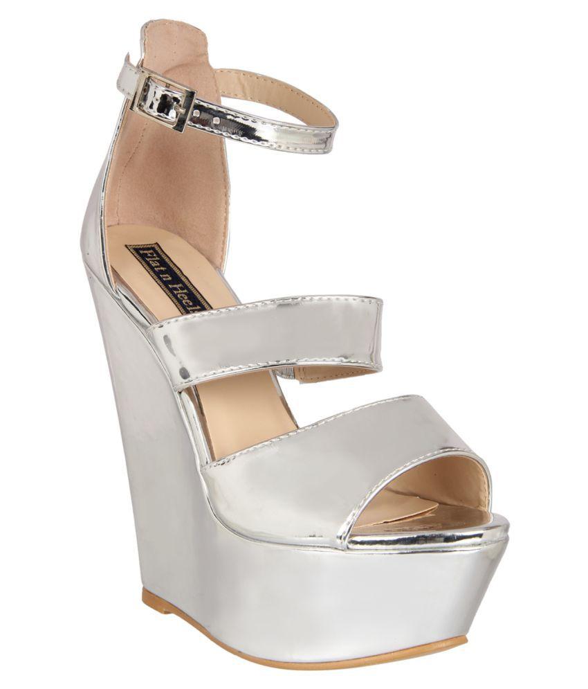 Flat N Heels Silver Wedges Heels