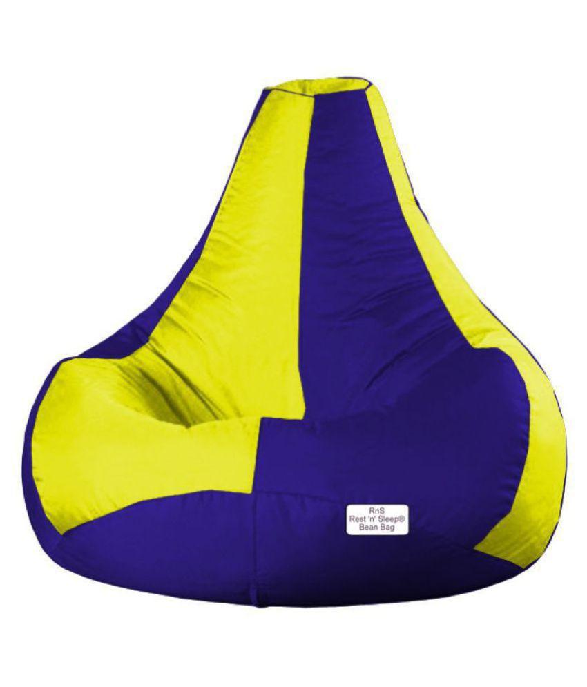 RestnSleep XXXL - Bean Bag Filled - TearDrop - Bean Bag Chair - With Beans Filler  (Yellow/Royal Blue)