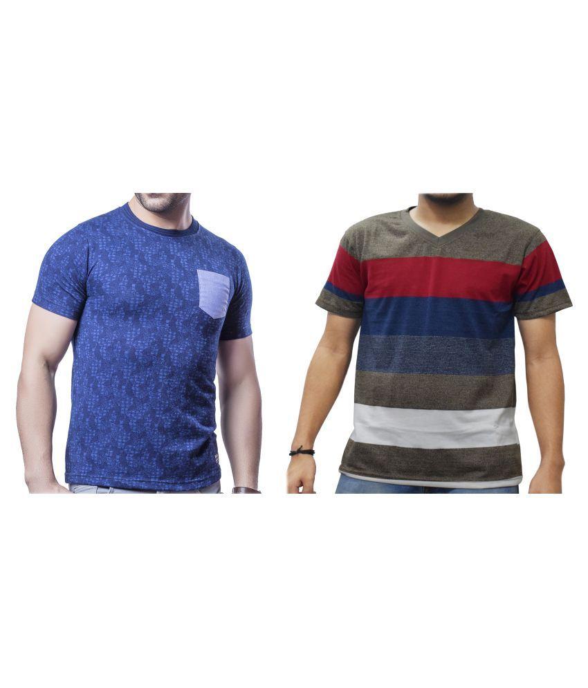 KUNDAN SULZ GWALIOR Brown Half Sleeve T-Shirt Pack of 2