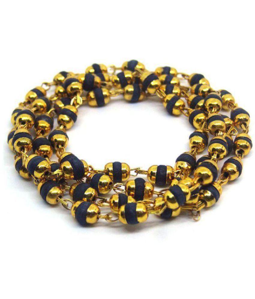 Astha Jyotish Black Tulsi Beads Mala In Brass made Golden Self Design Caps