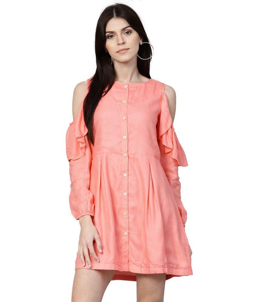 Jaipur Kurti Cotton Peach A- line Dress