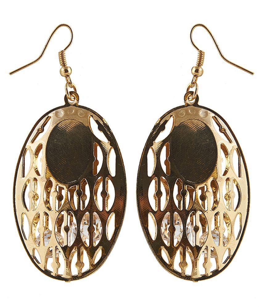 JewelMaze Gold Plated Crystal Stone Dangle Earring-1306416