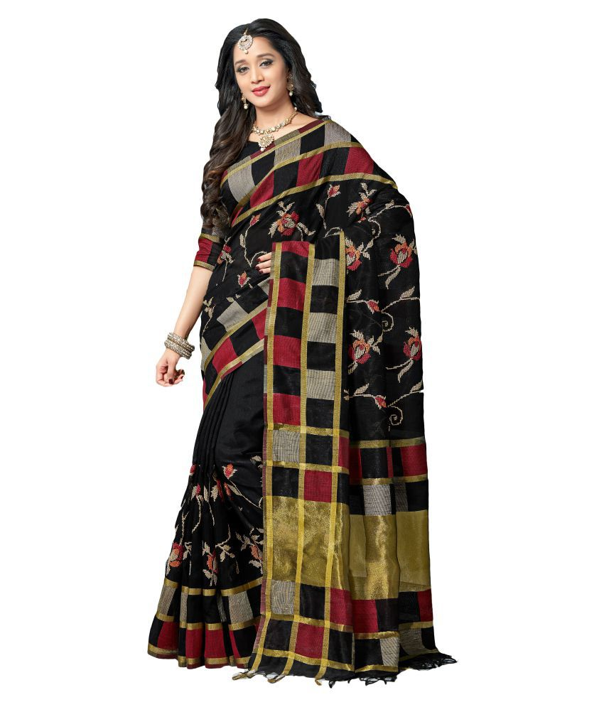 M.S.Retail Black Silk Saree