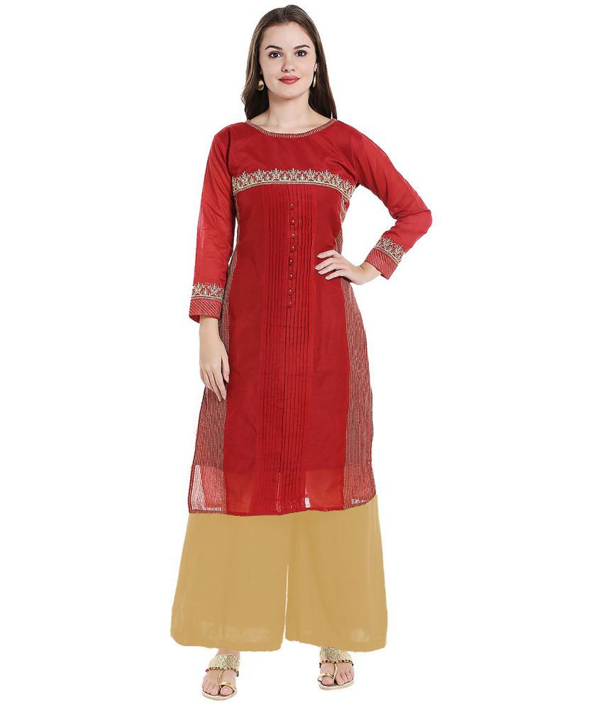 Ishin Red Chanderi A-line Stitched Suit