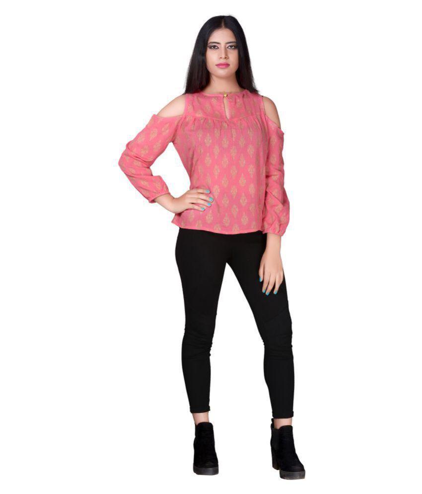 Secret Bazaar Rayon Regular Tops - Pink