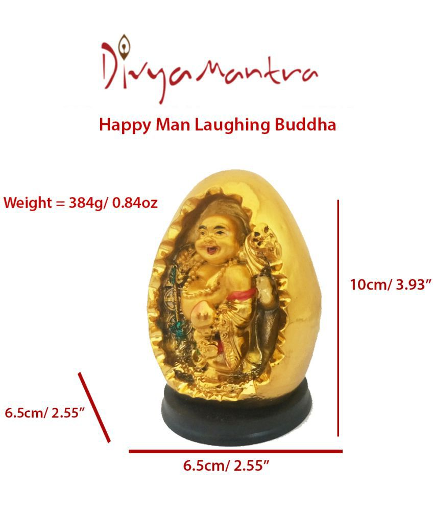 Divya Mantra Happy Man Laughing Buddha Standing on Wealth Statue For  Attracting Money Wealth Prosperity Financial Luck