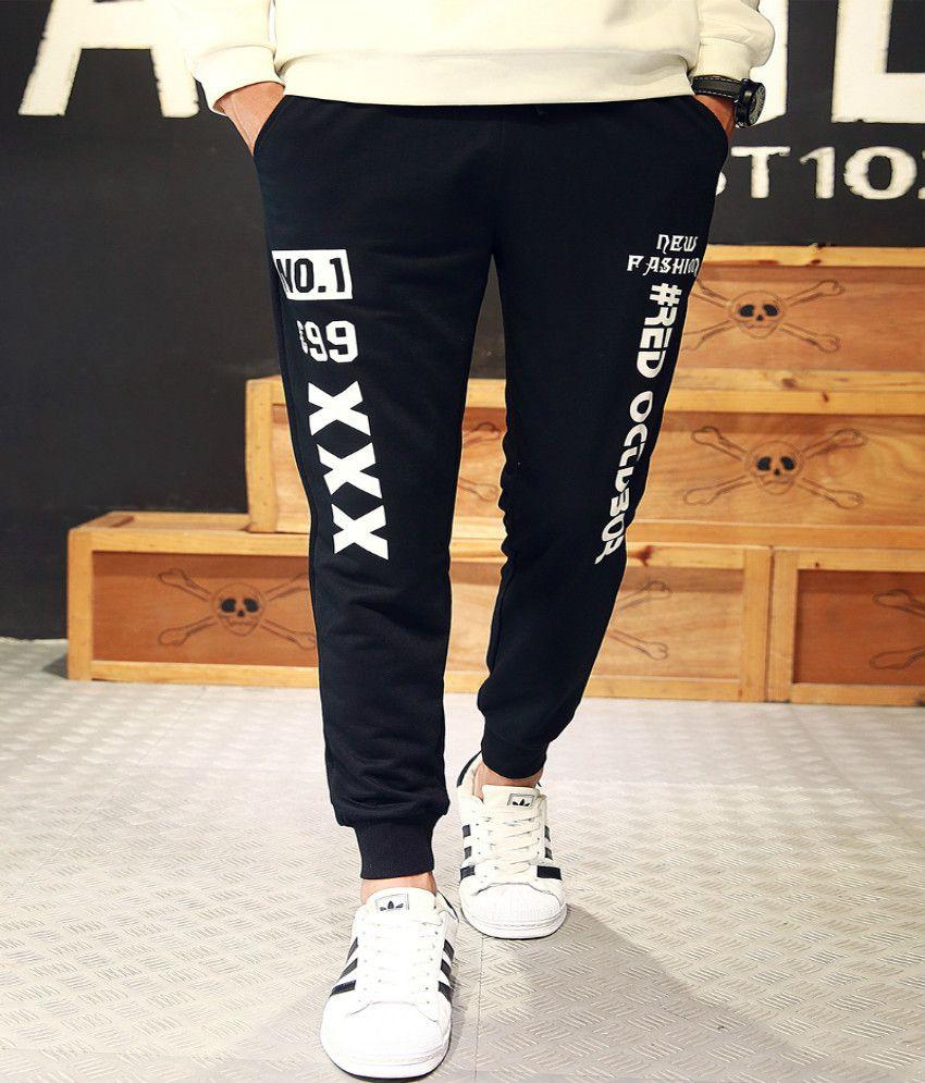 Levaso Black Regular -Fit Flat Trousers