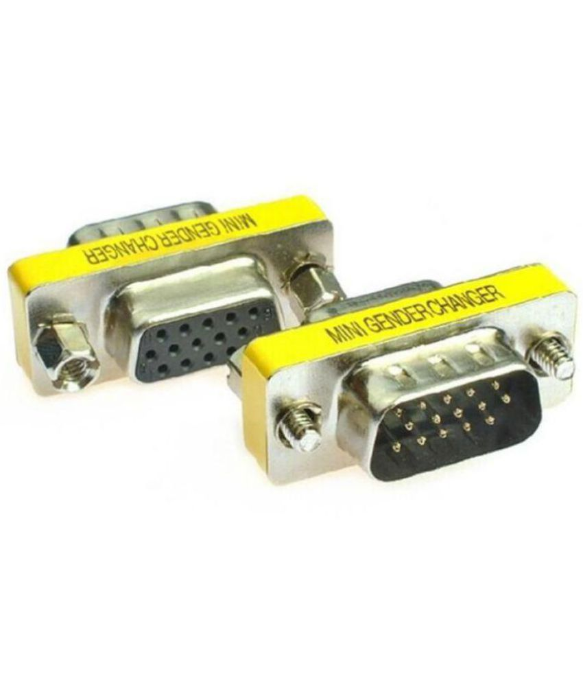 (Pack-2) VGA Male(15 Pin) to Female(15Pin) Mini Gender Changer Convertor Adapter