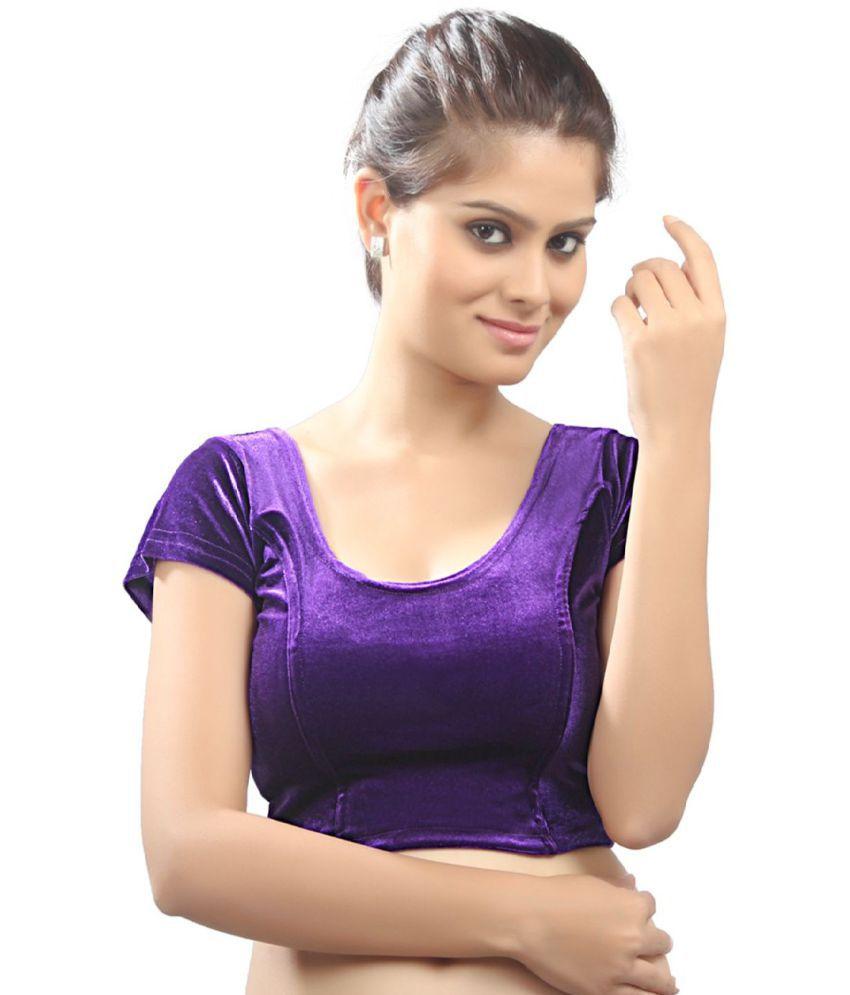 Salwar Studio Purple Velvet Readymade without Pad Blouse