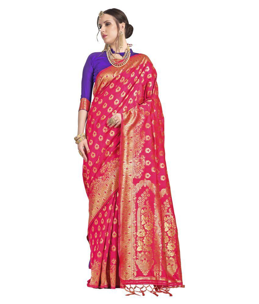yadu nandan fashion Red and Pink Banarasi Silk Saree