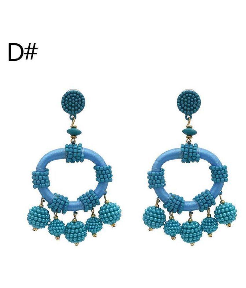 Generic 92.5 Gold Agate Drop Earrings