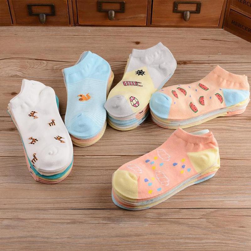 5 pairs Candy Color Cute Socks Cartoon Sexy Korean Women's Fashion Cotton Socks