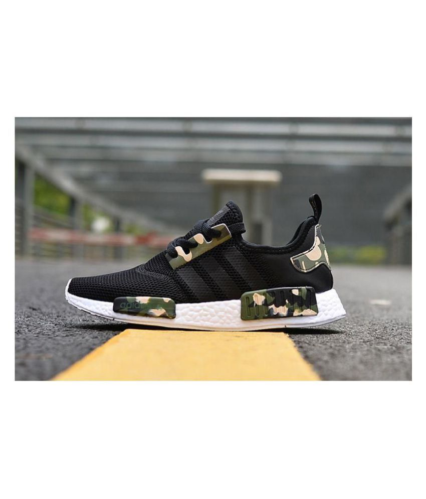 new style f586a 22e18 ... Adidas NMD Camo Customized Black Running Shoes ...
