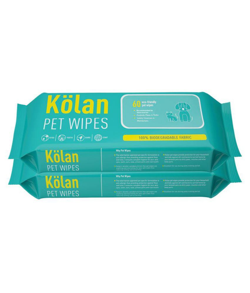 Kolan Eco- Friendly & Multipurpose Pet Wipes for Cleaning Paws, Face, Eyes, Ears, Teeth  and Coat for Dog/Puppy / Cat/Kitten (60 Pcs/Pack)-Combo Pack of 2