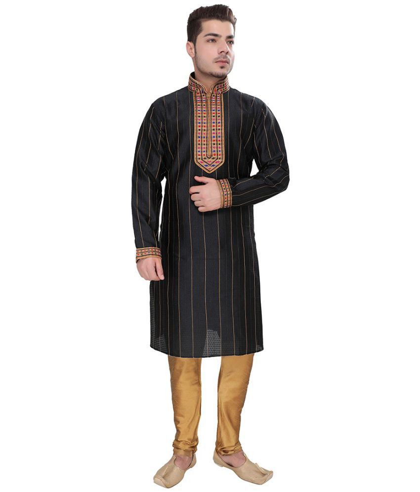 SG LEEMAN Black Silk Kurta Pyjama Set Pack of 2