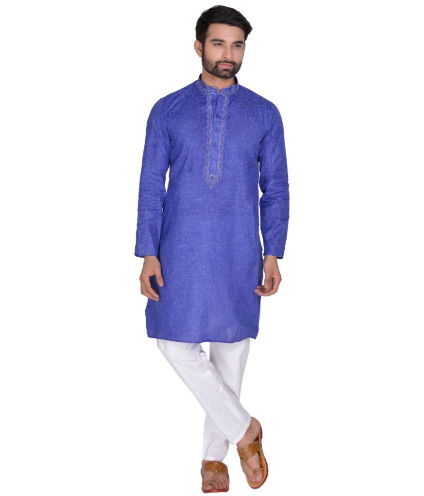 SG LEEMAN Blue Cotton Kurta Pyjama Set Pack of 2
