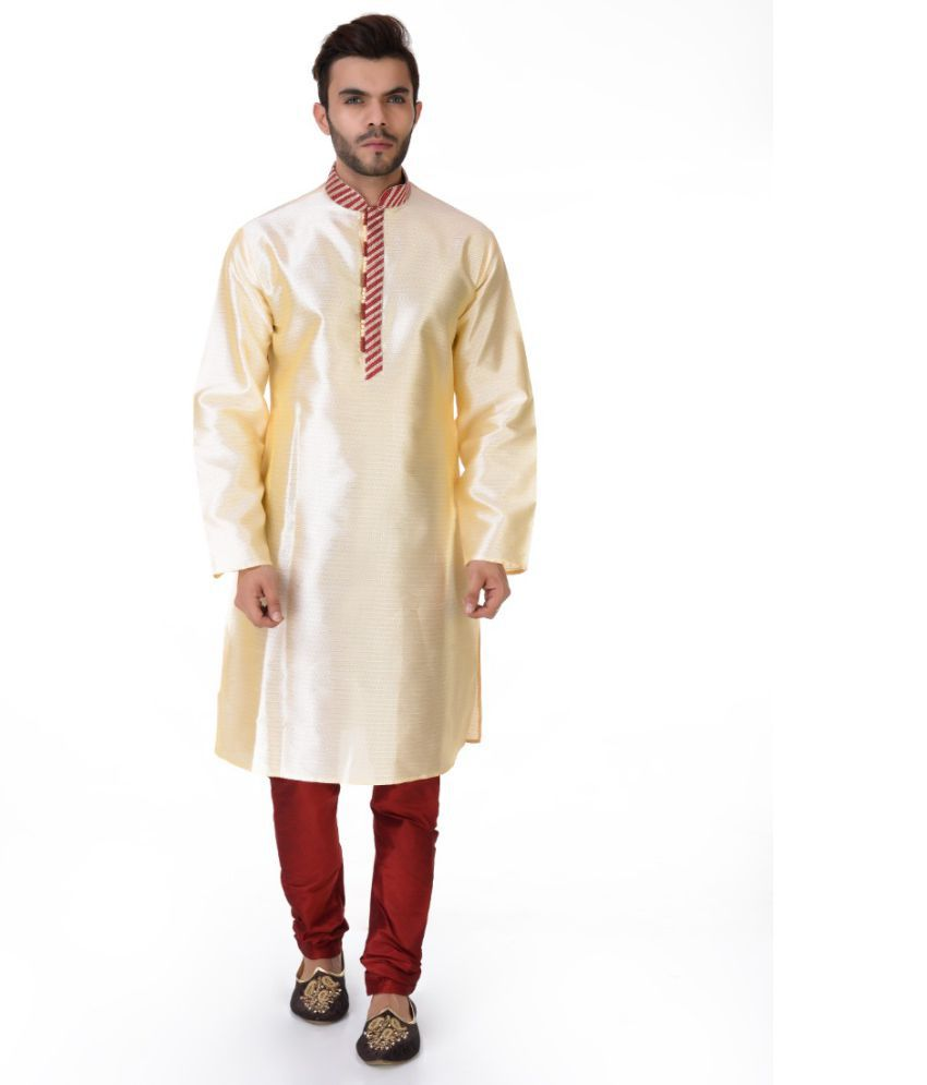 SG LEEMAN Cream Silk Kurta Pyjama Set Pack of 2