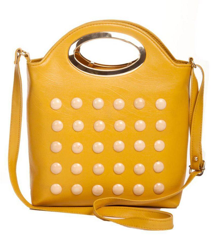 Aliado Yellow Faux Leather Sling Bag