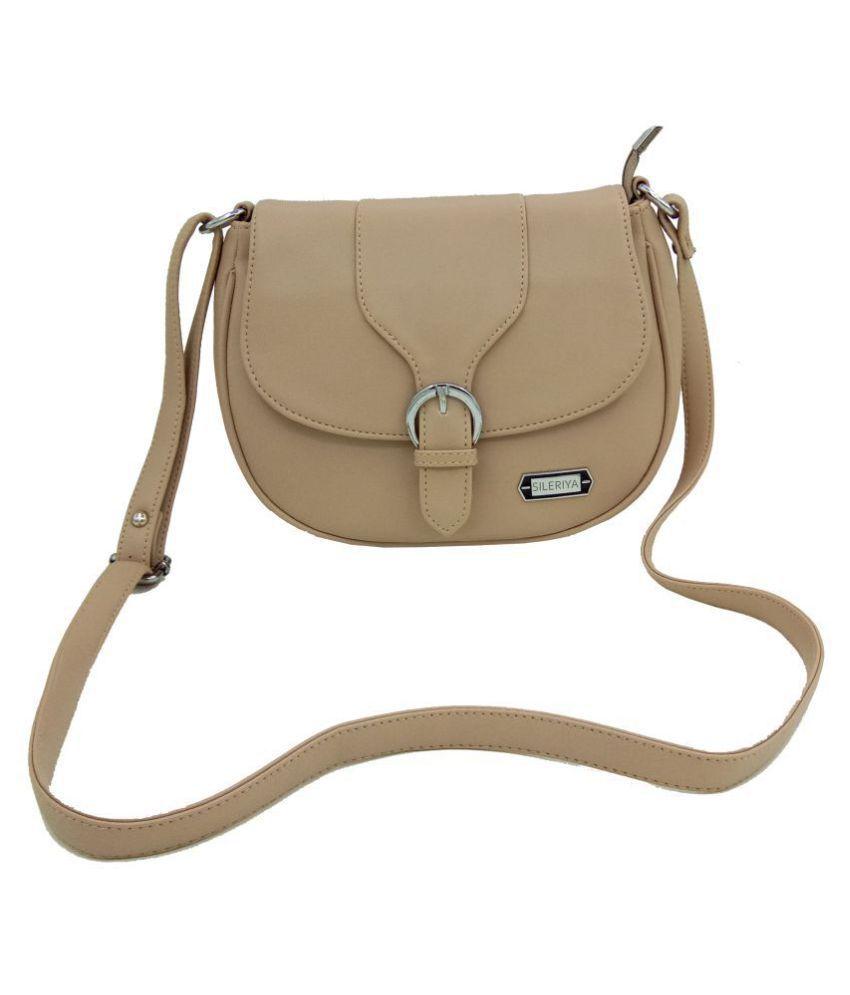 Sileriya Beige P.U. Sling Bag