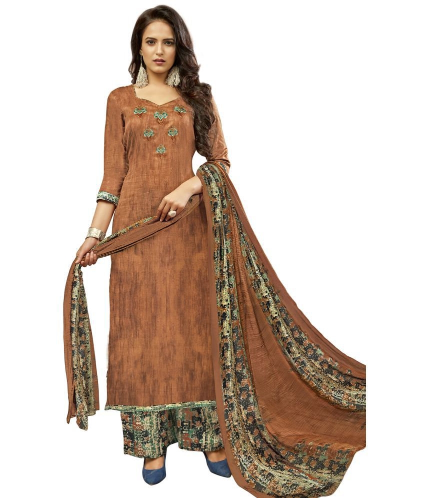 Swaron Brown Cotton Dress Material