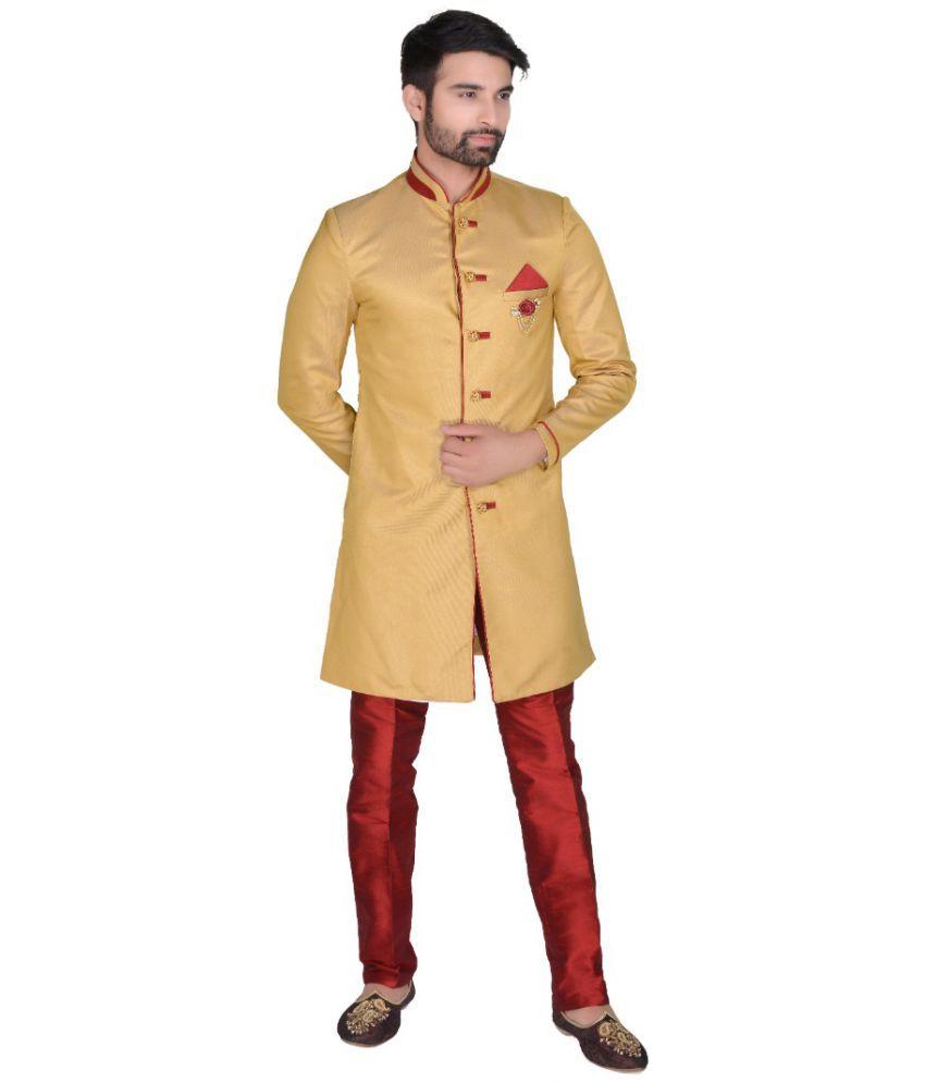 SG RAJASAHAB Brown Silk Sherwani