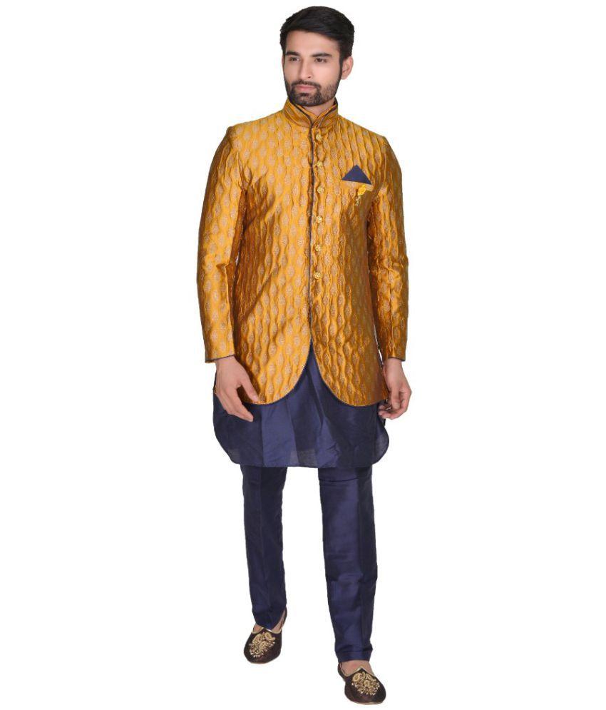 SG RAJASAHAB Yellow Silk Kurta Pyjama Set Pack of 3