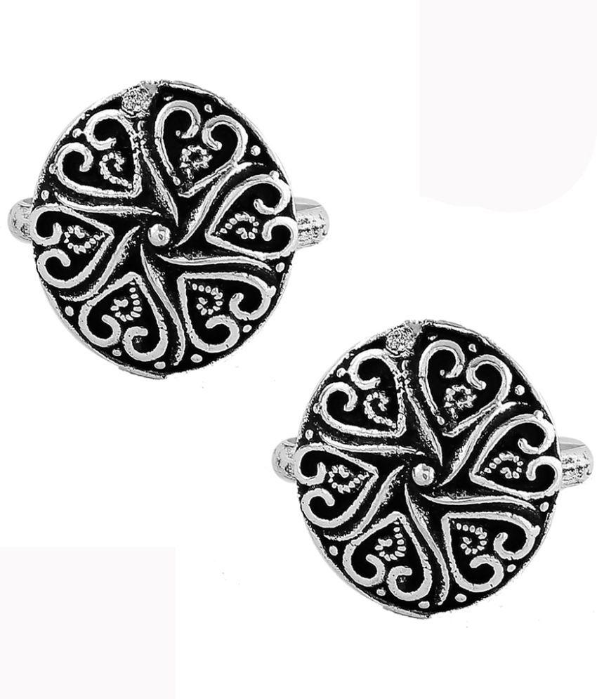 Anuradha Art Round Shape Classy Silver Finish Toe-Ring (Bichudi) For Women