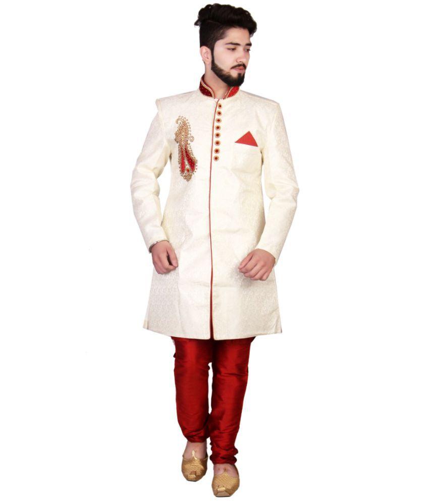 SG RAJASAHAB White Silk Sherwani