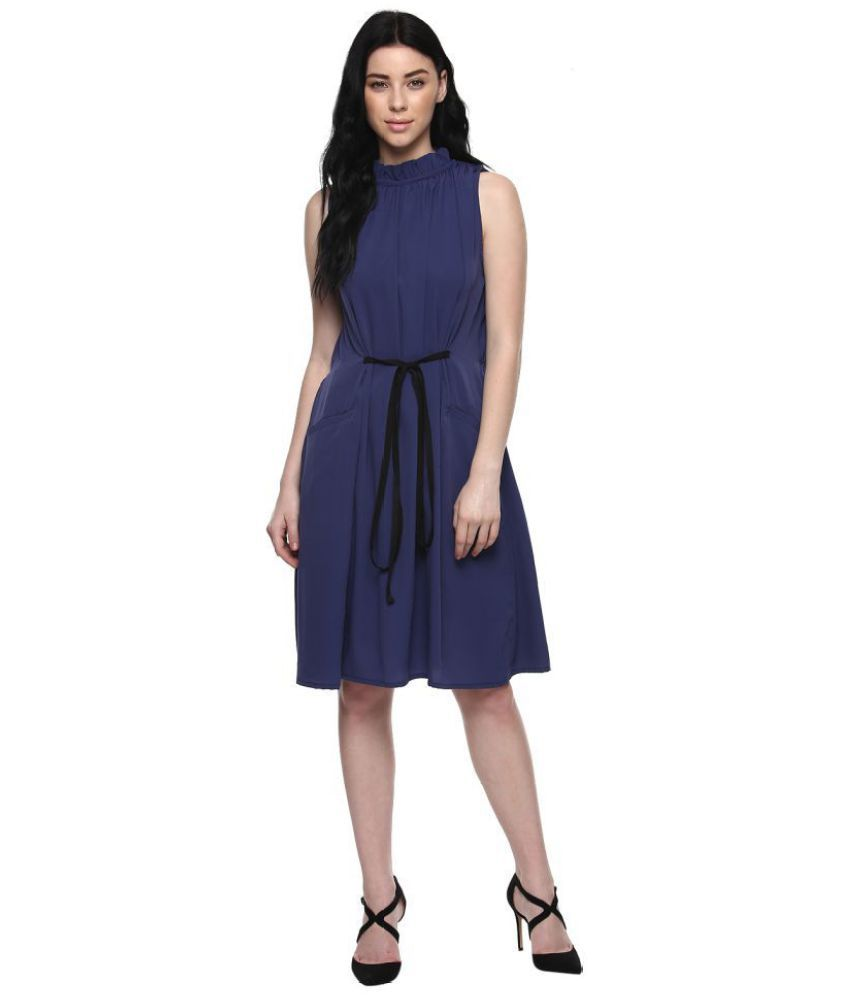 6145df3514be Abiti Bella Crepe Blue A- line Dress - Buy Abiti Bella Crepe Blue A- line  Dress Online at Best Prices in India on Snapdeal