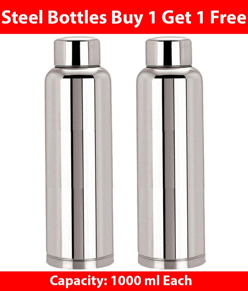 Buy: KC 1000 Ml Stainless Steel Fridge Bottles Buy One Get One