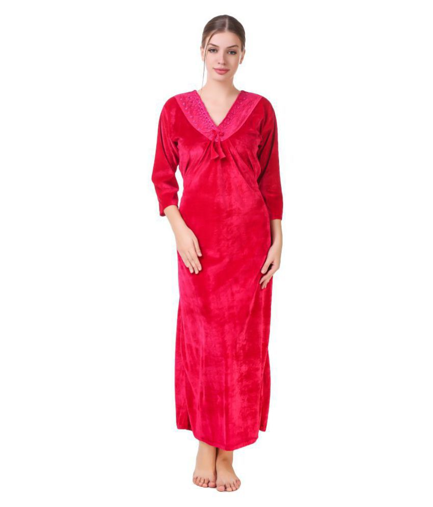 Buy Masha Velvet Nighty   Night Gowns - Pink Online at Best Prices in India  - Snapdeal 9c358de3a