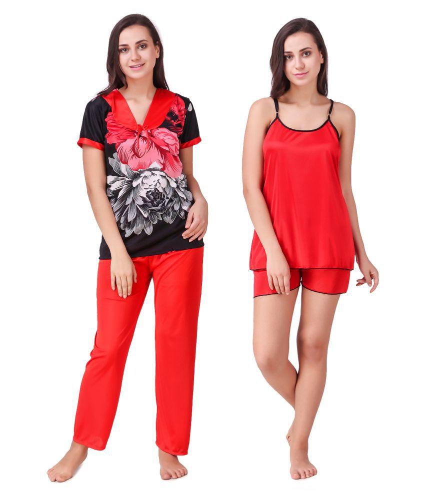 Ansh Fashion Wear Satin Nightsuit Sets - Red