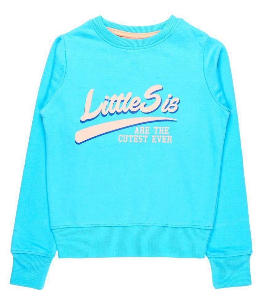 Quotee Winter Exclusive Girl's Graphic Printed Round Neck Light Blue Fleece Pullover Sweatshirt by GlamFolio IPL