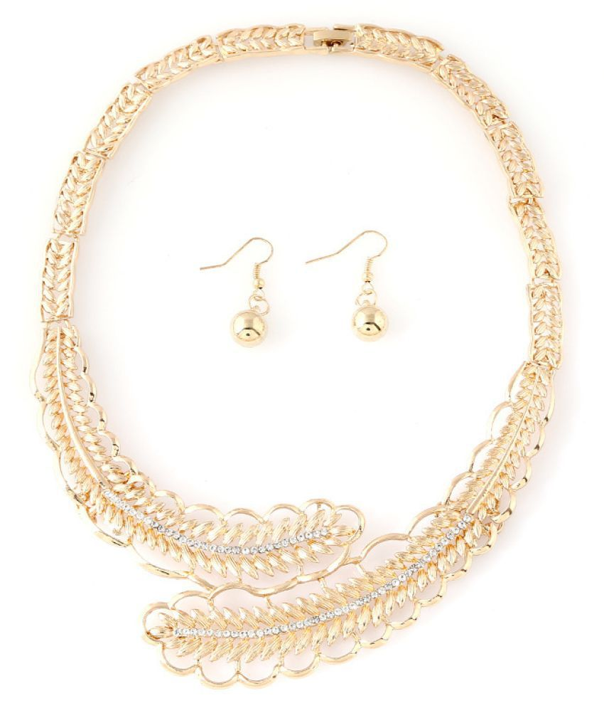 Levaso Fashion Jewelry Womens Earrings Ear Studs Necklace Pendant Alloy 1Set Personality Gifts Golden