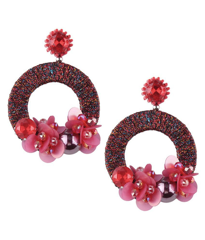 Levaso Fashion Jewelry Womens Earrings Ear Studs Leather 1Pair Personality Gifts Red