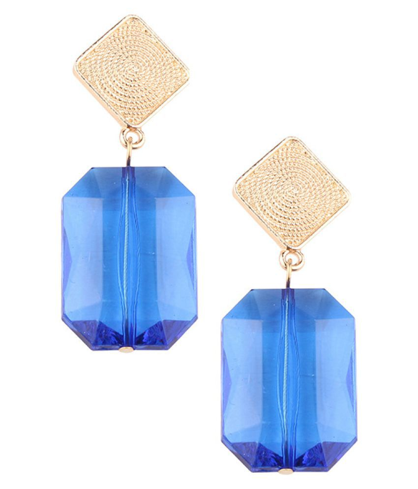 Levaso Fashion Jewelry Womens Earrings Ear Studs Necklace Pendant Glass 1Set Personality Gifts Blue