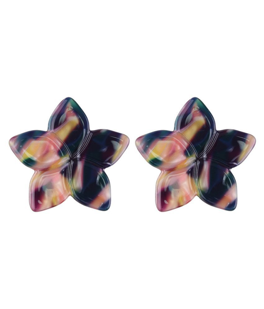 Levaso Fashion Jewelry Womens Earrings Ear Studs Alloy Floral Flower 1Pair Personality Gifts Gray