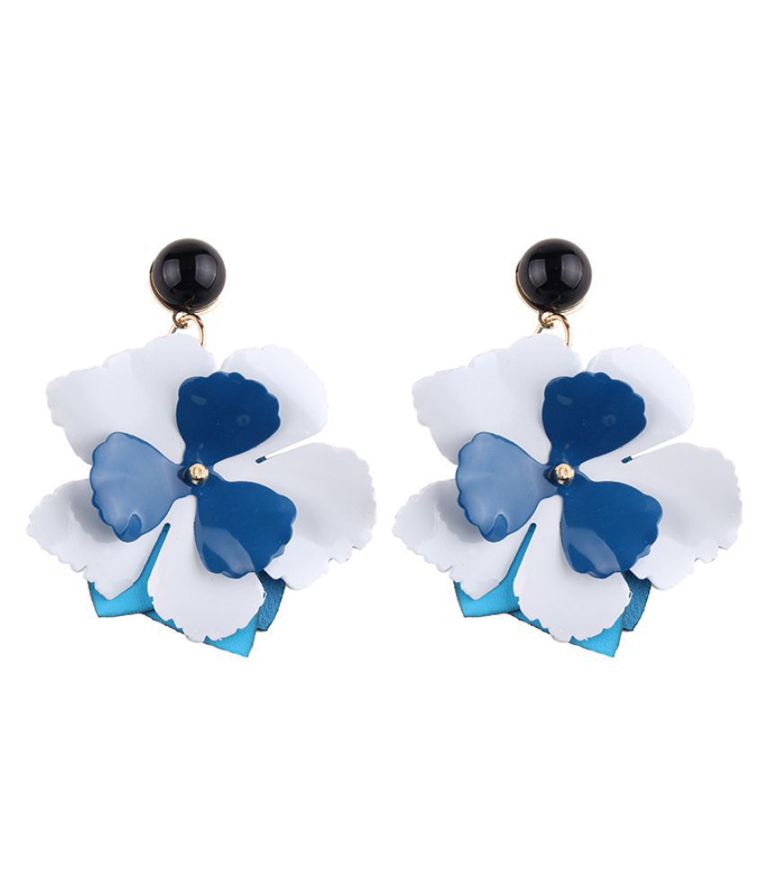 Levaso Fashion Jewelry Womens Earrings Ear Studs Alloy Floral Flower 1Pair Personality Gifts Blue