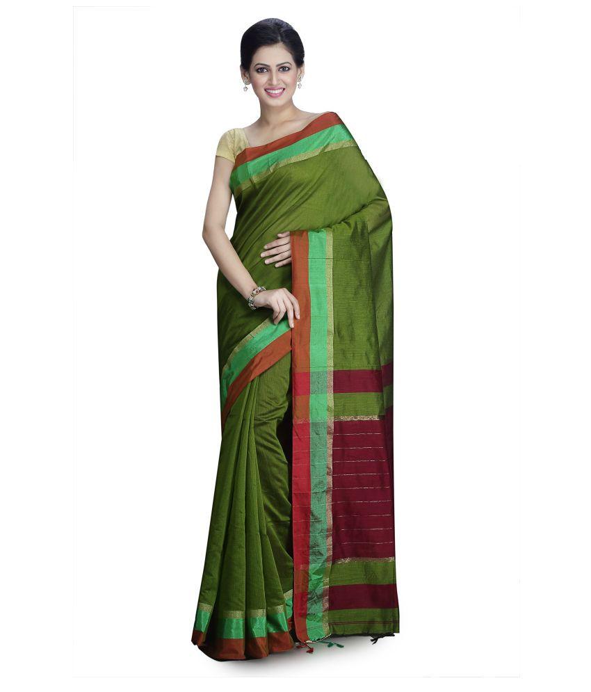 AVYUKTA Green and Brown Cotton Saree