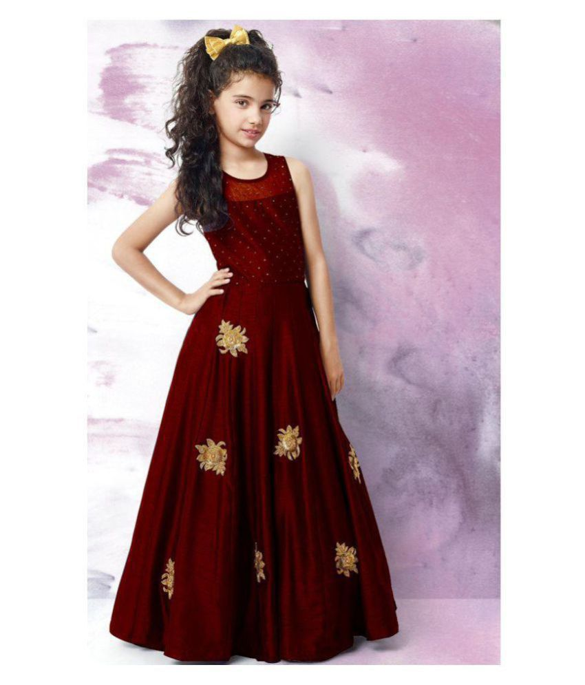 8776d9b71c4b White Button Designer Girl s Latest Maroon Banglori Silk Embroidery ...