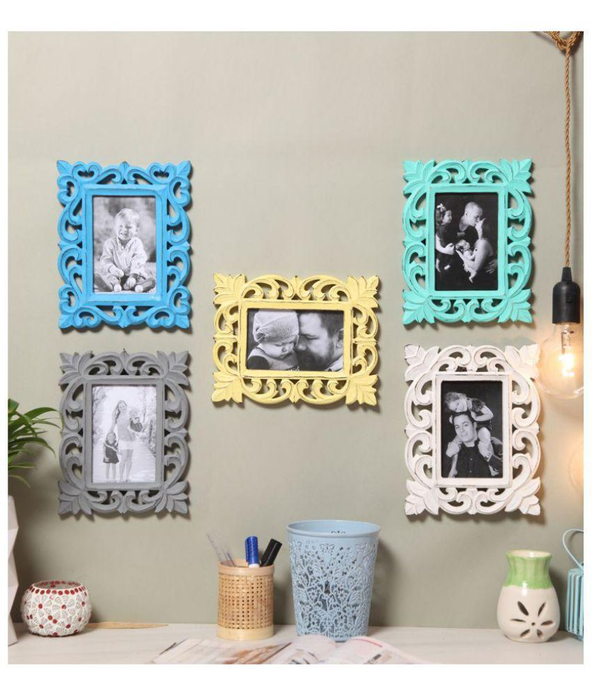 Yatha Wood Multicolour Collage Photo Frame - Pack of 5