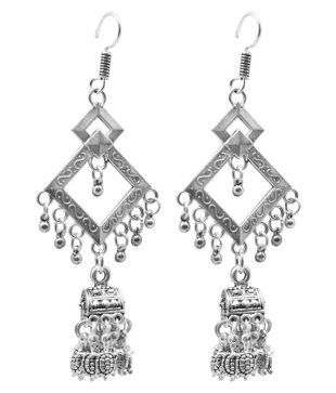 Jyesh Jewel Womens Fashion German Silver Beaded Turkish Style Triple Jhumki/ Dangle /& Drop Earrings for Womens and Girls