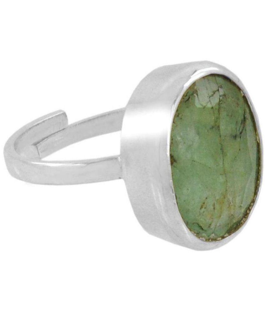 Oval Cut Emerald Gemstone Adjustable 100% Silver Ring of 4 Carat
