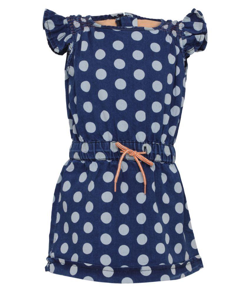 Tales & Stories Dark Blue Cotton Skater Dress for Baby Girls