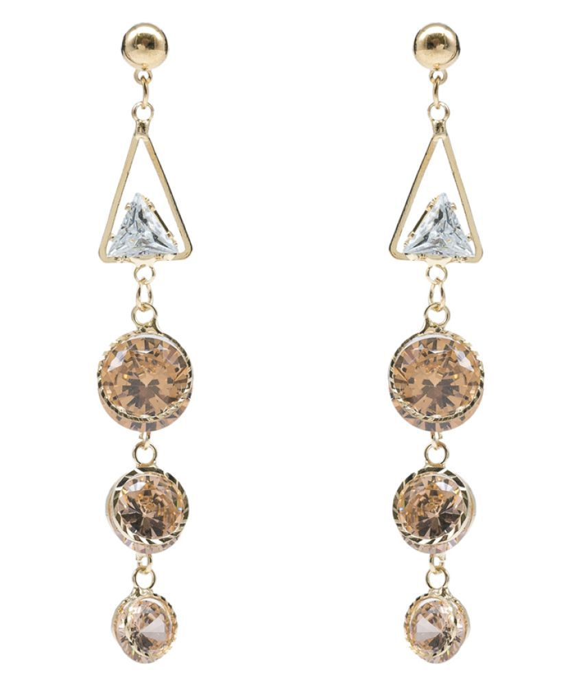 Kiyara Accessories Triangle and Three-stepped Circle Drop Earrings with Gold plating for women and girls