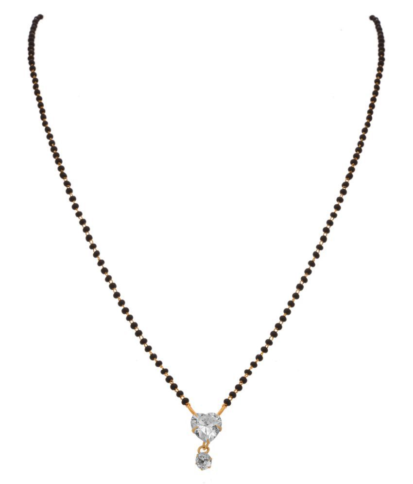 JFL -Traditional Fusion One Gram Gold Plated CZ Diamond Heart Shape Designe Mangalsutra with Black Beaded Chain for Women.