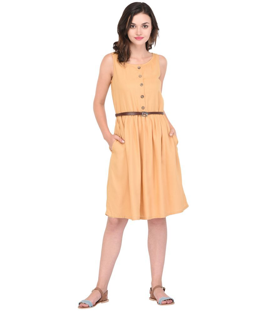 Purys Rayon Yellow Fit And Flare Dress