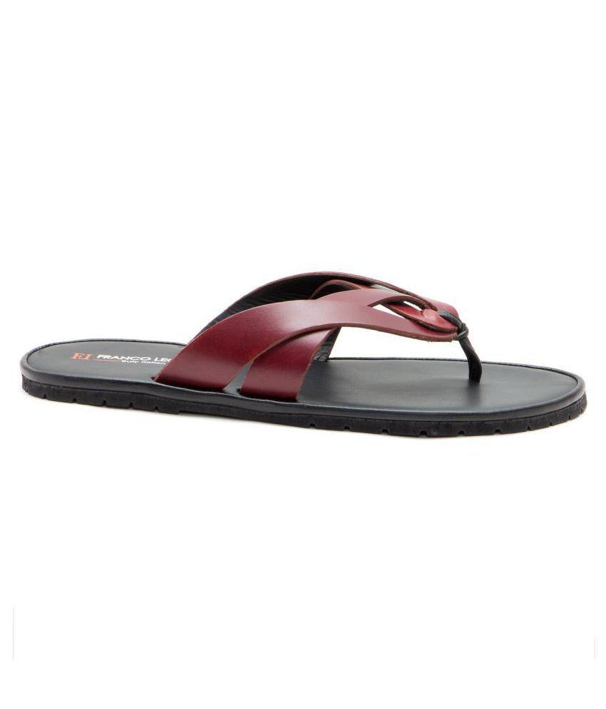 5fe1ded764b3 Franco Leone 9961 Red Leather Slippers Price in India- Buy Franco ...